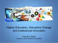 Higher Education, Disruptive Change and Institutional Innovation