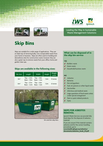 Fact Sheet - Skip Bins (PDF, 1.2 mb) - Ipswich City Council