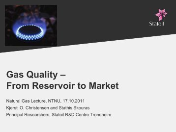 Gas Quality – From Reservoir to Market - NTNU