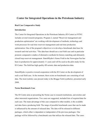 Center for Integrated Operations in the Petroleum Industry - NTNU