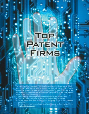 Top Patent Firms of 2005 - Intellectual Property Today