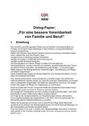 """Dialog-Papier: """"Für eine bessere Vereinbarkeit ... - CDU Oberhausen"""