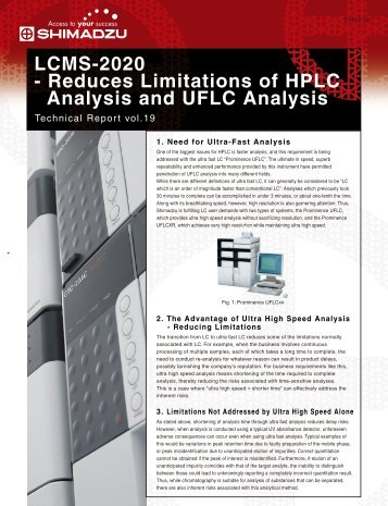 LCMS-2020 - Reduces Limitations of HPLC Analysis ... - Shimadzu
