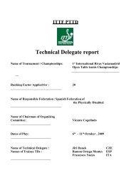 Technical Delegate report - ITTF Para Table Tennis