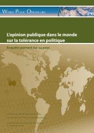 L'opinion publique dans le monde sur la tolérance en politique