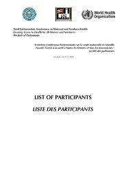 Liste des participants - Inter-Parliamentary Union