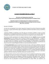 Présentation de l'UIP devant le Comité préparatoire de l'ONU