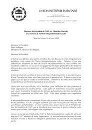 Discours du Président de l'UIP à Mascate