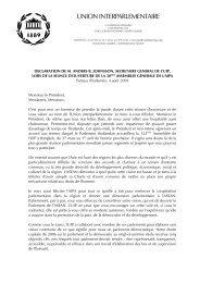 Déclaration du Secrétaire général de l'UIP