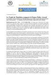 Le Traité de Tlatelolco remporte le Future Policy Award
