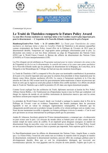 Le Traité de Tlatelolco remporte le Future Policy Award