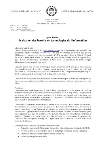 Evaluation des besoins en technologies de l'information - Inter ...