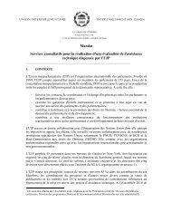 Mandat Services consultatifs pour la réalisation d'une évaluation de ...
