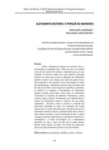 Aleitamento Materno: O Porqu do Abandono. - Instituto Politécnico ...