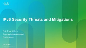 IPv6 Security Threats and Mitigations