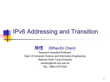 IPv6 Addressing and Transition - IPv6 Forum Taiwan