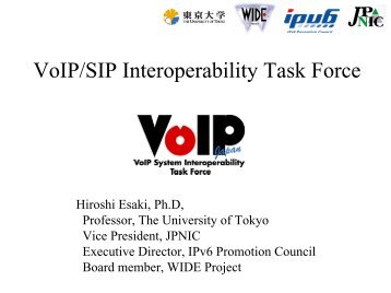 IP Infrastructure Study in Japan - IPv6 Forum Taiwan