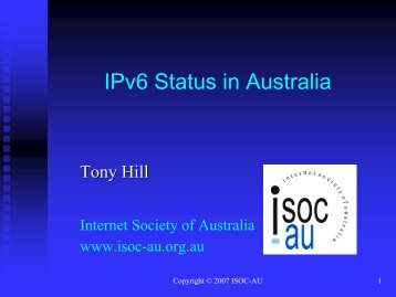 IPv6 Status in Australia - IPv6 Forum Taiwan