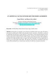 AN ARTIFICIAL TACTILE SENSOR SKIN FOR MODULAR ROBOTS