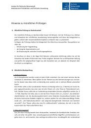 Hinweise zur mündlichen Prüfung - Institut für Politische ...