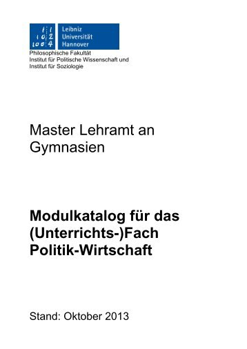 Fach Politik-Wirtschaft - Institut für Politische Wissenschaft