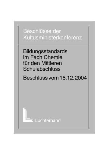 Bildungsstandards im Fach Chemie - Kultusministerkonferenz KMK