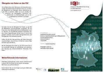 Weiterführende Informationen Übergabe von Daten an das FDZ