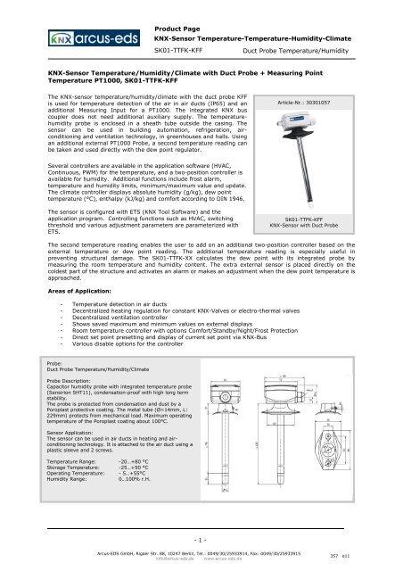Duct Probe Temperature/Humidity KNX-Sensor     - IQmarket