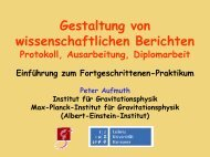 Wissenschaftliche Berichte - Präsentation von Dr. P. Aufmuth