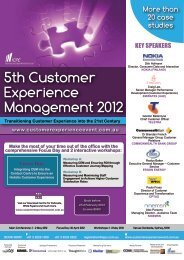 Experience - 6th Customer Experience Management 2013