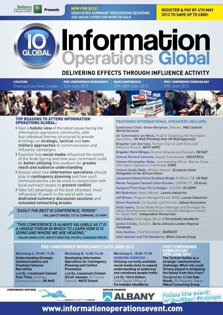 Register now @ www.informationoperationsevent.com - IQPC.com