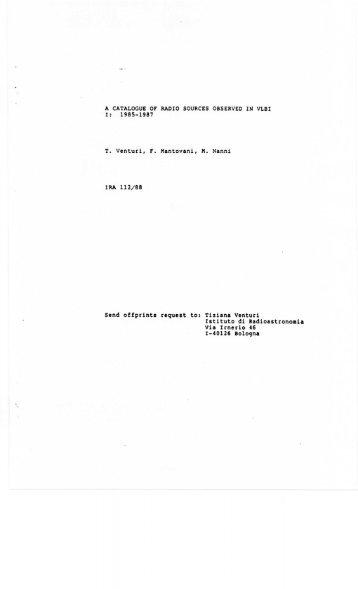 T. Venturi, r. Mantovani, M. Nanni Send offprints request to: Tiziana ...