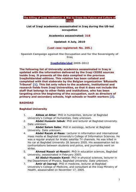 List Of Iraqi Academics Assassinated In Iraq During Iraqsolidaridad