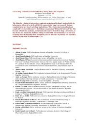 List of Iraqi academics assassinated in Iraq during ... - IraqSolidaridad