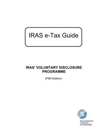e-Tax Guide on IRAS' Voluntary Disclosure Programme