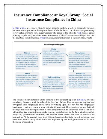 Social Insurance Compliance in China, Insurance Compliance at Koyal Group