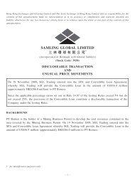 SAMLING GLOBAL LIMITED 三林環 球有限公司 - HKExnews