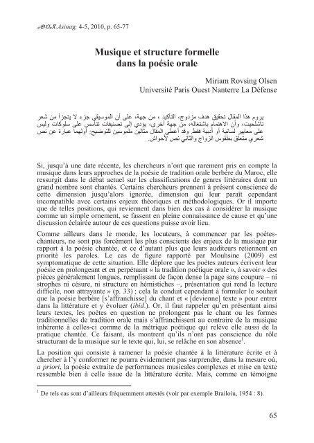 Musique Et Structure Formelle Dans La Poãsie Orale