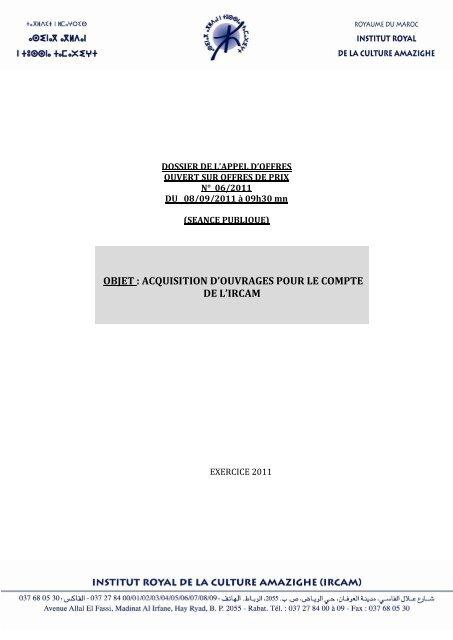 Objet Acquisition Douvrages Pour Le Compte De Lircam