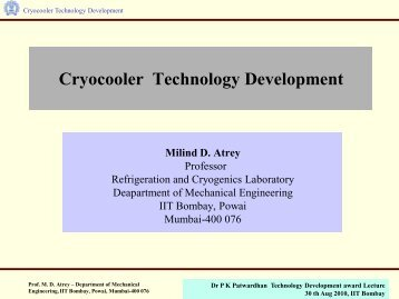 Presentation on Cryocooler Technology - IRCC