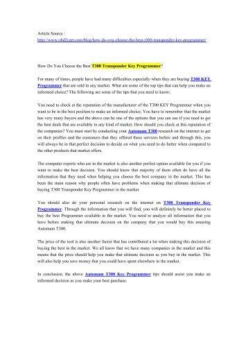 How Do You Choose the Best T300 Transponder Key Programmer_.pdf