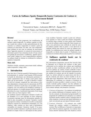 Cartes de Saillance Spatio-Temporelle basées Contrastes ... - IRCCyN