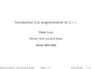 Introduction à la programmation en C++ - IRCCyN