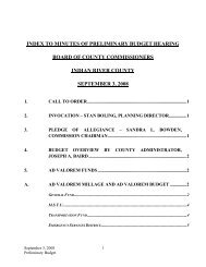 index to minutes of preliminary budget hearing board of county ...
