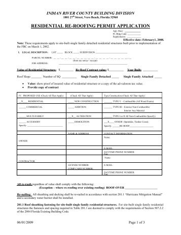 Residential Re Roofing Permit Application   Indian River County