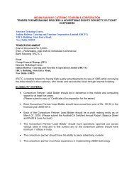indian railway catering tourism & corporation tender for ... - Irctc
