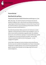 DocCheck AG auf Kurs