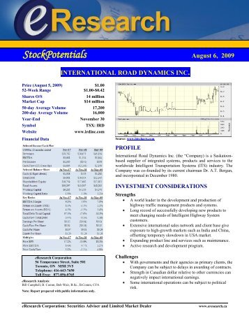 eResearch Research Report - International Road Dynamics Inc.