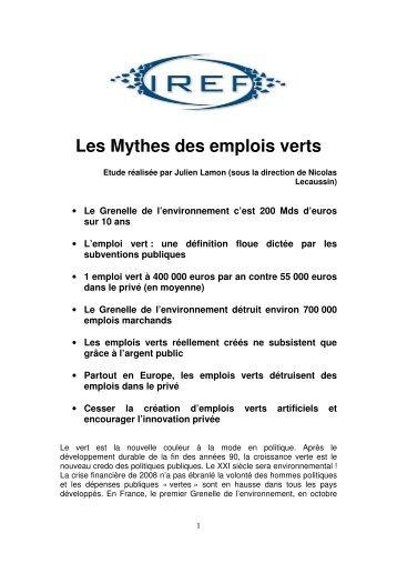 Les Mythes des emplois verts - IREF