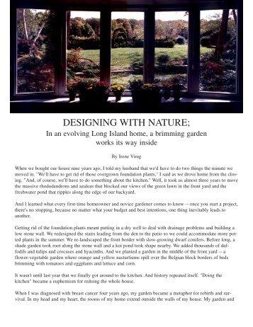 DESIGNING WITH NATURE; - Irene Virag